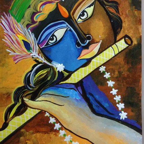 murlidhar, 16 x 12 inch, priyanka singh,paintings,religious paintings,radha krishna paintings,paintings for living room,paintings for living room,ivory sheet,acrylic color,16x12inch,GAL0950319328,krishna,pece,lordkrishna,,lord,peace,flute,music,krishna,devotion,couple