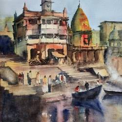 manikarnika ghat, 28 x 20 inch, sujit  raut,paintings,cityscape paintings,landscape paintings,paintings for living room,paintings for hotel,handmade paper,watercolor,28x20inch,GAL0936419348