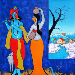 the flutist 2, 35 x 42 inch, chetan katigar,figurative paintings,modern art paintings,radha krishna paintings,paintings for living room,paintings for bedroom,paintings for office,paintings for kids room,paintings for hotel,canvas,acrylic color,35x42inch, Radhakrishna, love, Lord Krishna, couple love, dance, love in dance, Indian dance, animal dance, Radhakrishna dance, couple dance, love dance, nature dance, Blue, religious,GAL026619355,krishna,Lord krishna,krushna,radha krushna,flute,peacock feather,melody,peace,religious,god,love,romance