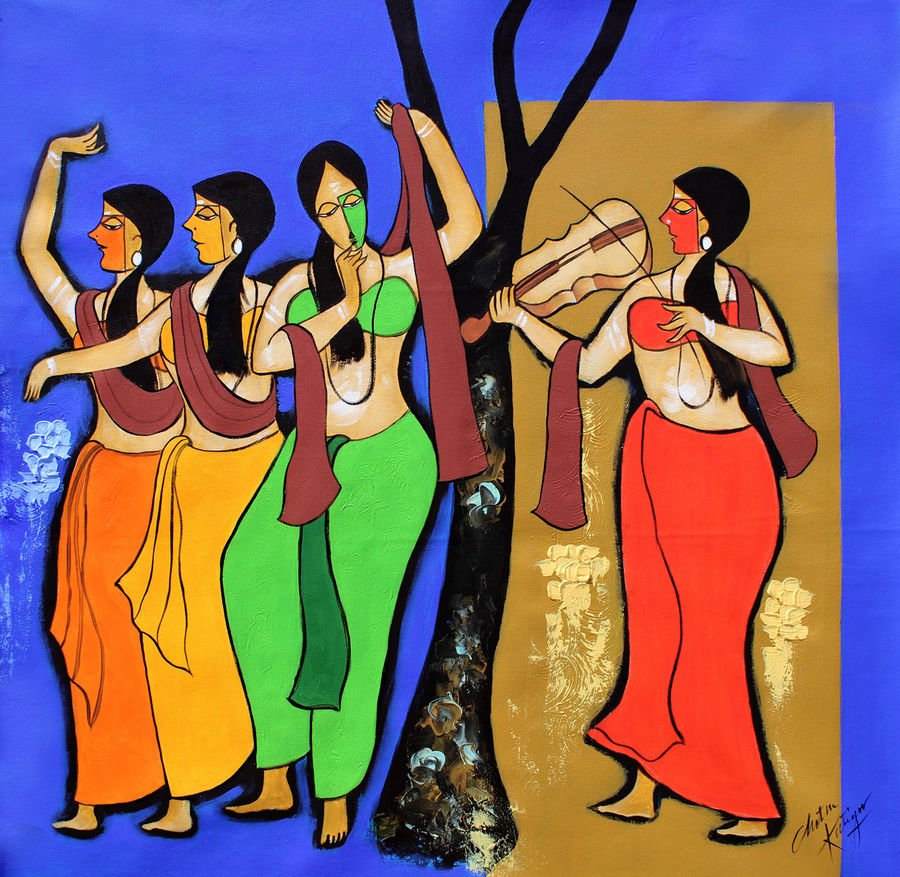 friends, 35 x 35 inch, chetan katigar,figurative paintings,modern art paintings,religious paintings,paintings for living room,paintings for bedroom,paintings for office,paintings for kitchen,paintings for hospital,canvas,acrylic color,35x35inch,GAL026619356