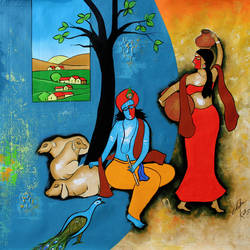 the flutist  3, 29 x 29 inch, chetan katigar,landscape paintings,modern art paintings,multi piece paintings,conceptual paintings,religious paintings,art deco paintings,expressionist paintings,radha krishna paintings,contemporary paintings,paintings for living room,paintings for bedroom,paintings for office,paintings for hotel,paintings for school,canvas,acrylic color,29x29inch, Radhakrishna, love, lord krishna, couple, animal, love, religious,peacock,religious,GAL026619357,radha,krishna,lord,lordkrishna,lordradha,flute,music