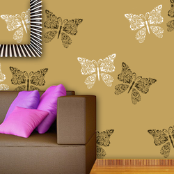 wall stencil: beautiful butterfly design wall stencils, 1 stencil (size 12x12 inches) | reusable | diy, 12 x 12 inch, wall stencil designs,12x12inch,ohp plastic sheets,flower designs,plastic,GAL0119361,GAL0119361