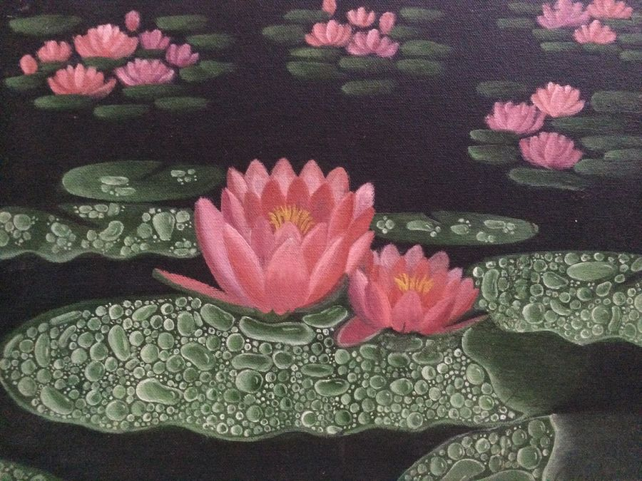 lotus garden , 12 x 16 inch, chandramukhi mueller,paintings,flower paintings,canvas,oil,12x16inch,GAL0964619364