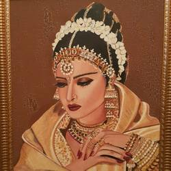 glamour queen - rekha, 18 x 24 inch, nalini gomatinayagam,paintings,portrait paintings,paintings for living room,paintings for living room,canvas,oil,18x24inch,GAL0965119371