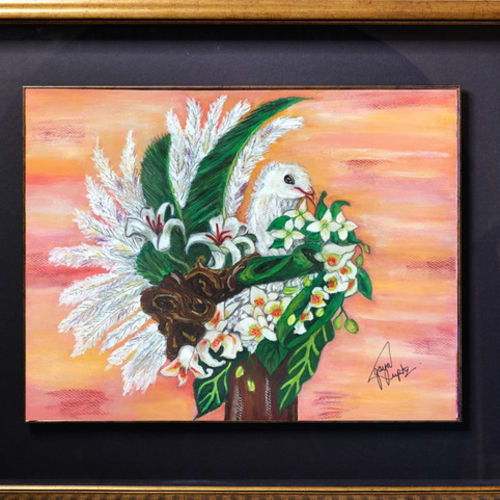 dove bouquet, 32 x 28 inch, jaya gupta,flower paintings,paintings for dining room,paintings for living room,paintings for bedroom,paintings for office,animal paintings,thick paper,mixed media,32x28inch,GAL0920419372