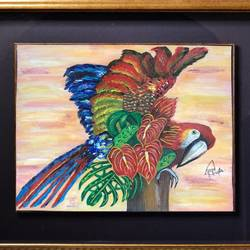 macaw bouquet, 32 x 28 inch, jaya gupta,flower paintings,animal paintings,thick paper,mixed media,32x28inch,GAL0920419374