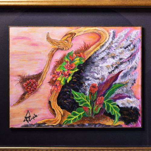 ostrich bouquet, 32 x 28 inch, jaya gupta,flower paintings,paintings for dining room,paintings for living room,paintings for bedroom,paintings for office,animal paintings,thick paper,mixed media,32x28inch,GAL0920419375