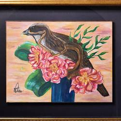 sparrow bouquet, 32 x 28 inch, jaya gupta,flower paintings,animal paintings,thick paper,mixed media,32x28inch,GAL0920419377