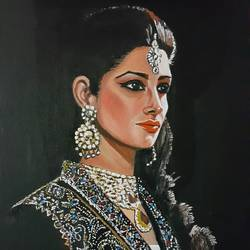 maiden night adorned in silver, 18 x 24 inch, nalini gomatinayagam,paintings,portrait paintings,canvas,oil,18x24inch,GAL0965119381