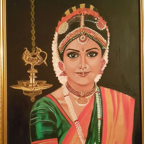 in memory of the only lady superstar, 18 x 24 inch, nalini gomatinayagam,paintings,portrait paintings,canvas,oil,18x24inch,GAL0965119384