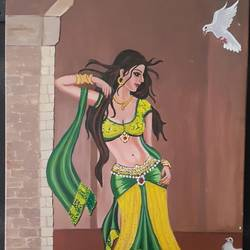 apsara on earth, 18 x 28 inch, nalini gomatinayagam,paintings,portrait paintings,canvas,oil,18x28inch,GAL0965119385
