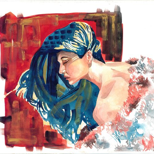 contentment, 21 x 14 inch, bhavin  mehta ,figurative paintings,paintings for bedroom,thick paper,watercolor,21x14inch,GAL07591939
