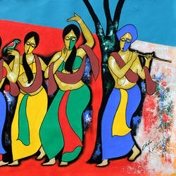dancing mood, 36 x 25 inch, chetan katigar,figurative paintings,modern art paintings,religious paintings,abstract expressionist paintings,art deco paintings,expressionist paintings,impressionist paintings,paintings for living room,paintings for bedroom,paintings for office,paintings for kids room,paintings for hotel,paintings for kitchen,canvas,acrylic color,36x25inch,GAL026619391