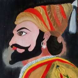 great shivaji maharaj, 11 x 15 inch, nidhi srivastava,paintings,portrait paintings,paintings for dining room,paintings for living room,paintings for office,paintings for hotel,paintings for school,canvas,oil,11x15inch,GAL0964919394