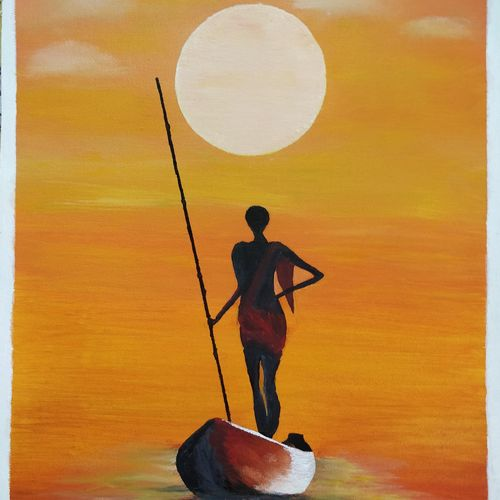 fisherman on boat at sunset, 16 x 21 inch, sharad chandak,landscape paintings,conceptual paintings,still life paintings,nature paintings,impressionist paintings,realistic paintings,paintings for dining room,paintings for living room,paintings for bedroom,paintings for office,paintings for bathroom,paintings for kids room,paintings for hotel,paintings for kitchen,paintings for school,paintings for hospital,canvas,acrylic color,16x21inch,GAL0953019407Nature,environment,Beauty,scenery,greenery