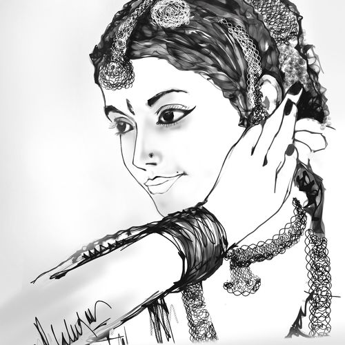 beautiful indian woman, 12 x 18 inch, pankaj malukar,drawings,art deco drawings,figurative drawings,fine art drawings,folk drawings,portrait drawings,paintings for dining room,paintings for living room,paintings for bedroom,paintings for office,paintings for hotel,paintings for hospital,arches paper,mixed media,12x18inch,GAL0971719434