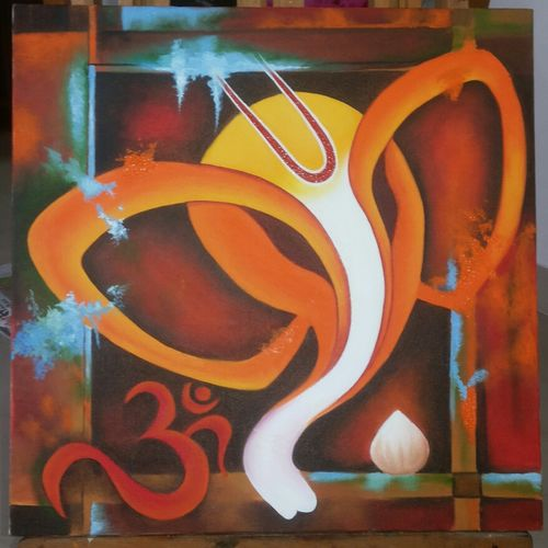 ganesha  10, 18 x 18 inch, monika kumar,abstract paintings,paintings for office,canvas,oil paint,18x18inch,GAL03611946