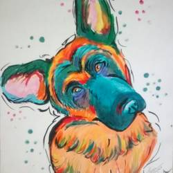 isaac....cute colorful dog, 11 x 14 inch, priyanshu sharma,paintings,dog painting,paintings for dining room,paintings for living room,paintings for bedroom,paintings for bathroom,paintings for kids room,paintings for school,paintings for hospital,drawing paper,acrylic color,11x14inch,GAL0973619479
