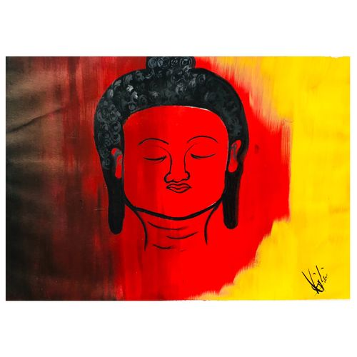 buddha painting, 12 x 17 inch, rajlaxmi soni,love paintings,drawings,buddha drawings,paintings for dining room,paintings for living room,paintings for office,paintings for hotel,ivory sheet,acrylic color,fabric,oil,pastel color,12x17inch,GAL0974319491