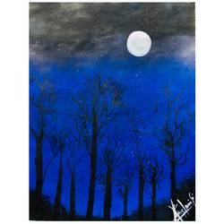 moon paintings, 12 x 17 inch, rajlaxmi soni,paintings,street art,paintings for bedroom,ivory sheet,acrylic color,fabric,oil,12x17inch,GAL0974319493