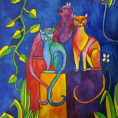 the three cats, 13 x 17 inch, amaey parekh,wildlife paintings,paintings for bedroom,renaissance watercolor paper,watercolor,13x17inch,GAL075195