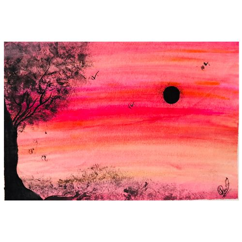 sunset, 12 x 17 inch, rajlaxmi soni,paintings,nature paintings,realistic paintings,paintings for dining room,paintings for living room,paintings for kids room,paintings for hotel,ivory sheet,acrylic color,fabric,mixed media,oil,pastel color,12x17inch,GAL0974319500Nature,environment,Beauty,scenery,greenery
