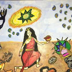 mahabharata battlefield - draupadi as kali, 16 x 12 inch, shradha mohan,paintings,religious paintings,surrealist paintings,paintings for living room,paintings for office,paintings for hotel,paintings for school,thick paper,oil,16x12inch,GAL0972619502