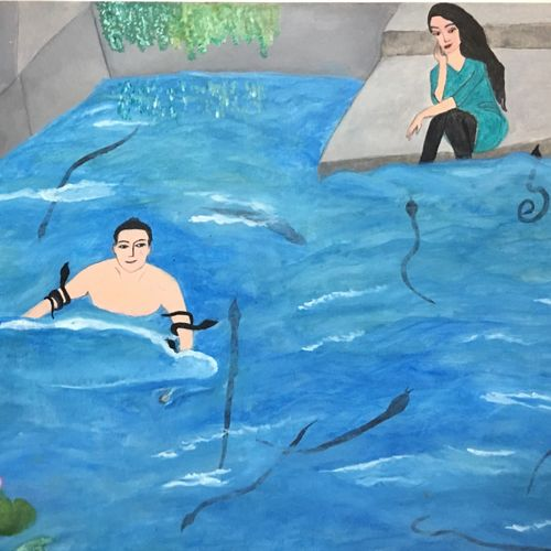 yamuna - river - snakes - mysticism , 16 x 12 inch, shradha mohan,wildlife paintings,religious paintings,nature paintings,love paintings,paintings for living room,paintings for bedroom,thick paper,oil,16x12inch,GAL0972619511Nature,environment,Beauty,scenery,greenery