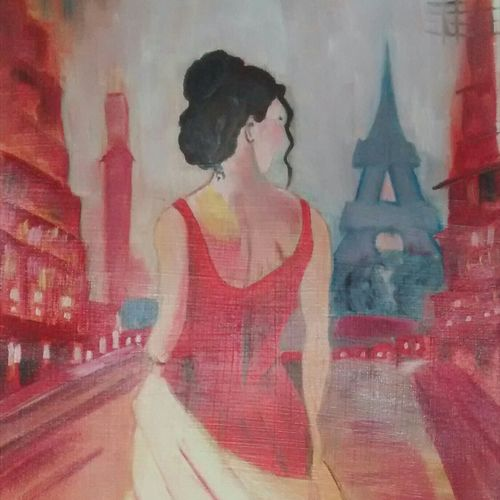 lady in paris, 12 x 16 inch, nidhi srivastava,paintings,cityscape paintings,paintings for dining room,paintings for living room,paintings for bedroom,paintings for office,paintings for hotel,canvas,oil,12x16inch,GAL0964919526