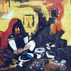 village woman, 30 x 20 inch, pankaj malukar,paintings,abstract paintings,portrait paintings,paintings for dining room,paintings for living room,paintings for bedroom,paintings for hotel,paintings for kitchen,paintings for school,paintings for hospital,canvas,oil,30x20inch,GAL0971719539