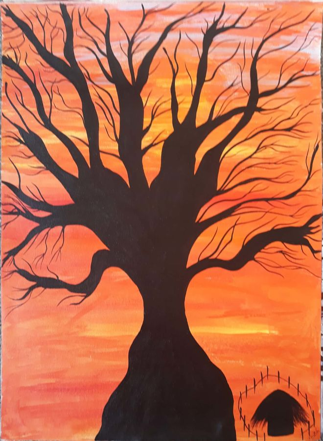 sunset village, 16 x 24 inch, anitha l,paintings,nature paintings,paintings for living room,paintings for bedroom,paintings for office,paintings for school,paintings for living room,paintings for bedroom,paintings for office,paintings for school,canvas,acrylic color,16x24inch,GAL0968919541Nature,environment,Beauty,scenery,greenery,tree,sunset,orange