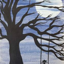 swing at the twilight, 16 x 24 inch, anitha l,paintings,nature paintings,children paintings,paintings for living room,paintings for bedroom,paintings for kids room,paintings for school,canvas,acrylic color,16x24inch,GAL0968919542Nature,environment,Beauty,scenery,greenery