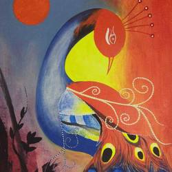 peacock, 15 x 22 inch, sunil begana,modern art paintings,paintings for living room,paintings,canvas,acrylic color,15x22inch,GAL06541955