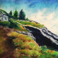 hill top , 11 x 10 inch, arpita  roy,paintings,landscape paintings,thick paper,pastel color,11x10inch,GAL0977019556