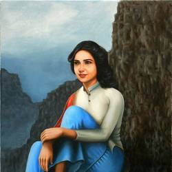 samantha akkineni, 18 x 24 inch, gyanaditya mourya,paintings,figurative paintings,conceptual paintings,photorealism paintings,portraiture,love paintings,paintings for living room,paintings for bedroom,paintings for hotel,canvas,acrylic color,18x24inch,GAL06819560
