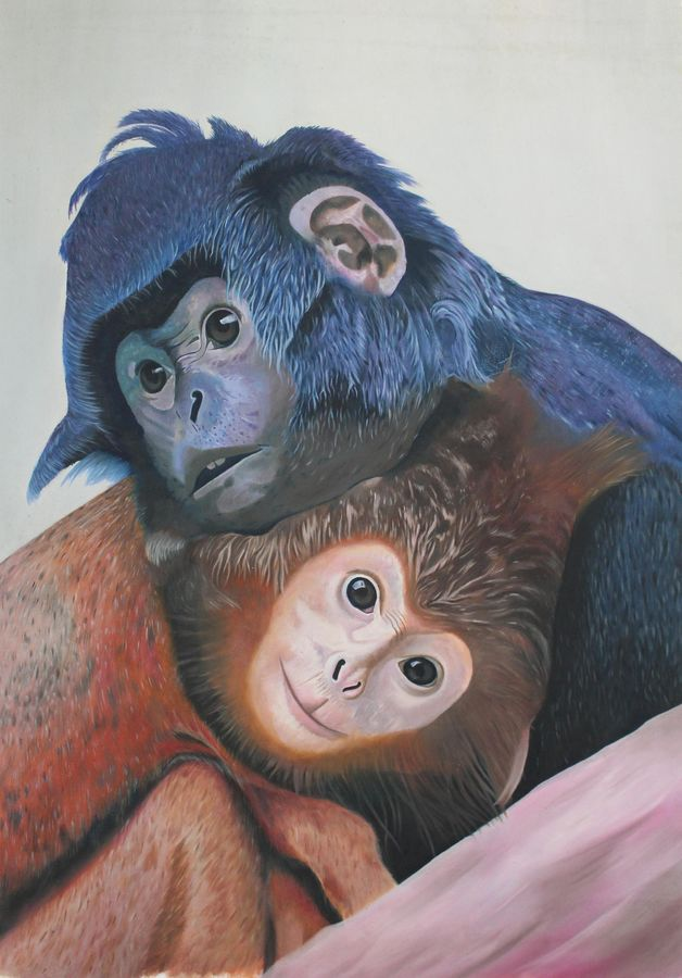 monkey's love, 24 x 34 inch, vishal gurjar,conceptual paintings,still life paintings,portrait paintings,realistic paintings,love paintings,paintings for living room,paintings for bedroom,paintings for office,paintings for kids room,paintings for hospital,canvas,acrylic color,ink color,pen color,24x34inchheart,family,caring,happiness,forever,happy,trust,passion,romance,sweet,kiss,love,hugs,warm,fun,kisses,joy,friendship,marriage,chocolate,husband,wife,forever,caring,couple,sweetheart