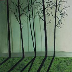forest green sky, 33 x 21 inch, vishal gurjar,landscape paintings,modern art paintings,realistic paintings,paintings for bedroom,paintings for office,paintings for hotel,paintings for school,paintings for hospital,canvas,acrylic color,oil,33x21inch