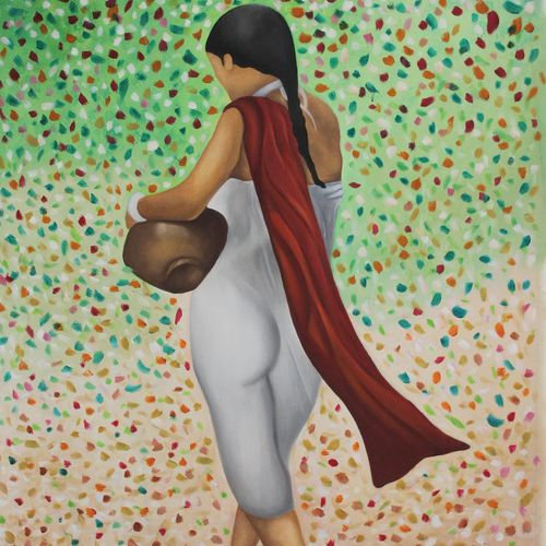 creation indian women , 23 x 33 inch, vishal gurjar,figurative paintings,paintings for living room,paintings for office,paintings for hotel,paintings for school,paintings for hospital,canvas,acrylic color,oil,23x33inch