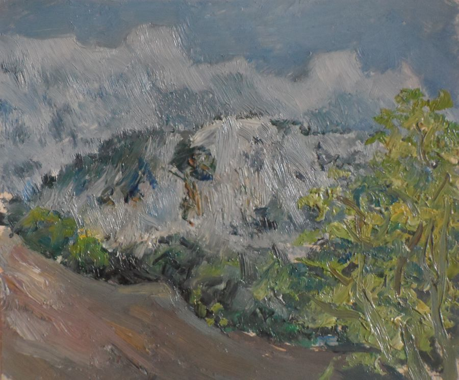 ai-petri peak, crimea, 6 x 7 inch, moesey li,landscape paintings,paintings for living room,paintings,thick paper,oil paint,6x7inch,GAL07181958