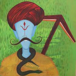 indian farmer, 24 x 27 inch, vishal gurjar,figurative paintings,modern art paintings,conceptual paintings,paintings for living room,paintings for office,paintings for hotel,paintings for school,canvas,oil,24x27inch