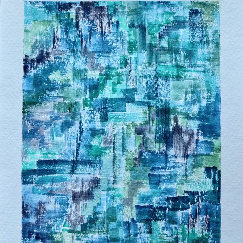 greens & blues forever …, 8 x 12 inch, jalpa chauhan,paintings,abstract paintings,modern art paintings,paintings for dining room,paintings for living room,paintings for bedroom,paintings for office,paintings for hotel,paintings for hospital,handmade paper,watercolor,8x12inch,GAL0669719598
