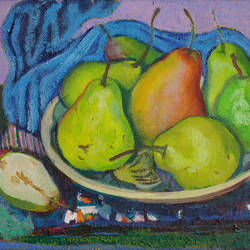 pears, 11 x 15 inch, moesey li,still life paintings,paintings for dining room,paintings,canvas,oil paint,11x15inch,GAL07181960