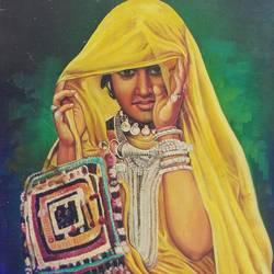 traditional wear, 24 x 36 inch, vishal gurjar,figurative paintings,paintings for bedroom,paintings for hotel,paintings for school,paintings for hospital,canvas,acrylic color,24x36inch