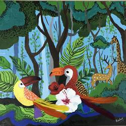 harmonious co - existence, 20 x 16 inch, kashvii shah,paintings,abstract paintings,wildlife paintings,animal paintings,paintings for office,paintings for kids room,paintings for school,canvas,acrylic color,20x16inch,GAL0978319611