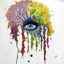 colourful eye, 12 x 14 inch, vishal gurjar,modern art paintings,conceptual paintings,still life paintings,paintings for office,paintings for kids room,paintings for hotel,paintings for school,paintings for hospital,canvas,acrylic color,oil,12x14inch