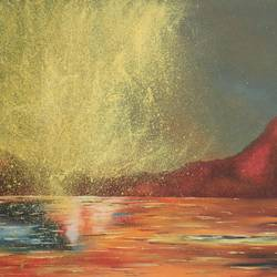the sky look red sunrise, 21 x 15 inch, vishal gurjar,nature paintings,paintings for office,paintings for kids room,paintings for hotel,paintings for school,paintings for hospital,canvas,acrylic color,oil,21x15inchNature,environment,Beauty,scenery,greenery