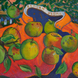 aesop's apples, 15 x 22 inch, moesey li,still life paintings,paintings for dining room,paintings,canvas,oil paint,15x22inch,GAL07181962