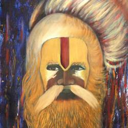 big sadhu baba, 15 x 21 inch, vishal gurjar,religious paintings,paintings for office,paintings for hotel,paintings for school,paintings for hospital,canvas,acrylic color,15x21inch