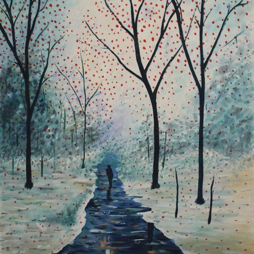 a winter nature walk, 24 x 34 inch, vishal gurjar,nature paintings,paintings for bedroom,paintings for office,paintings for hotel,paintings for kitchen,paintings for school,paintings for hospital,canvas,acrylic color,oil,24x34inchNature,environment,Beauty,scenery,greenery