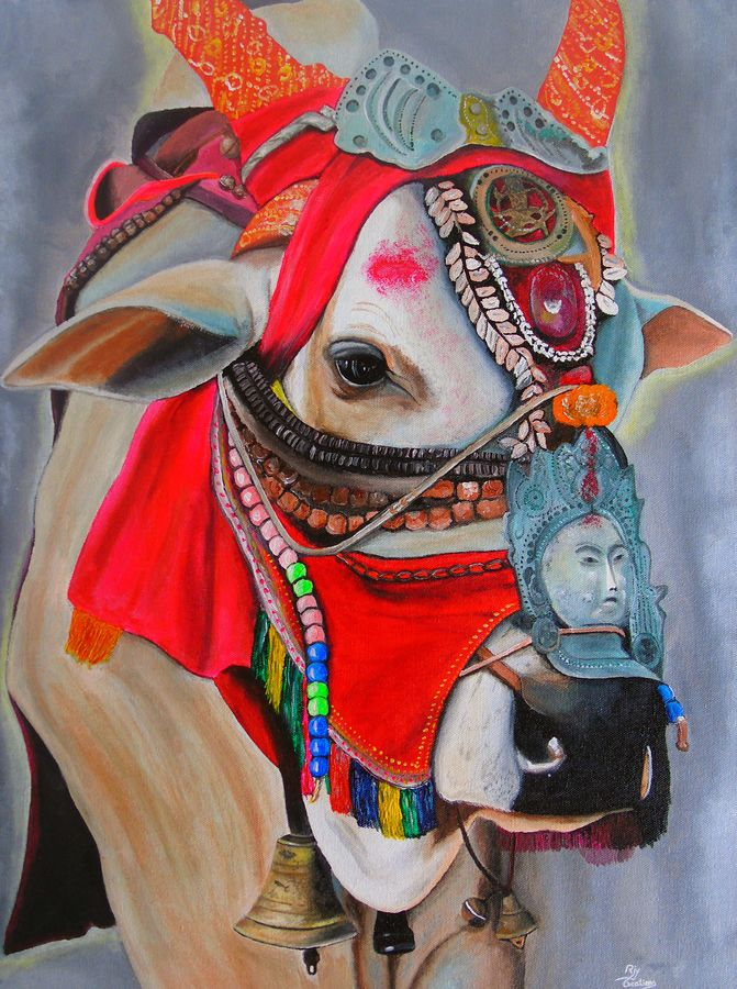 tibetan holy cow, 17 x 23 inch, rijoy  emmanuel,figurative paintings,religious paintings,still life paintings,animal paintings,realistic paintings,paintings for dining room,paintings for living room,paintings for bedroom,paintings for office,canvas,acrylic color,17x23inch,GAL0643119623